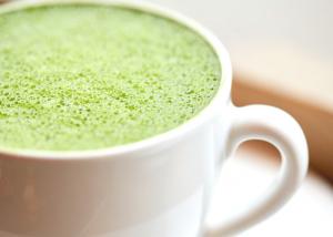 white mug closeup of matcha tea